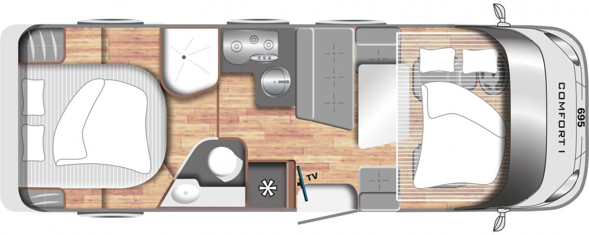 LMC comfort_i_695_grondplan camper